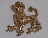 Vintage Poodle Brooch Figural French Poodle Dog Pin 1950s