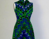 RESERVED FOR VINNY Vintage Maxi Dress 1970s Retro Green and Blue Psychedelic Pattern