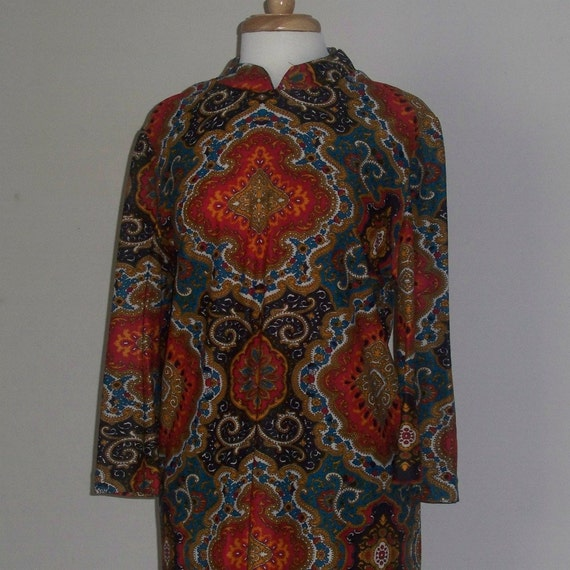 Vintage Caftan Dress 1960s 1970s Floor Length Nehru Collar Ethnic Indian Boho Retro Hippie