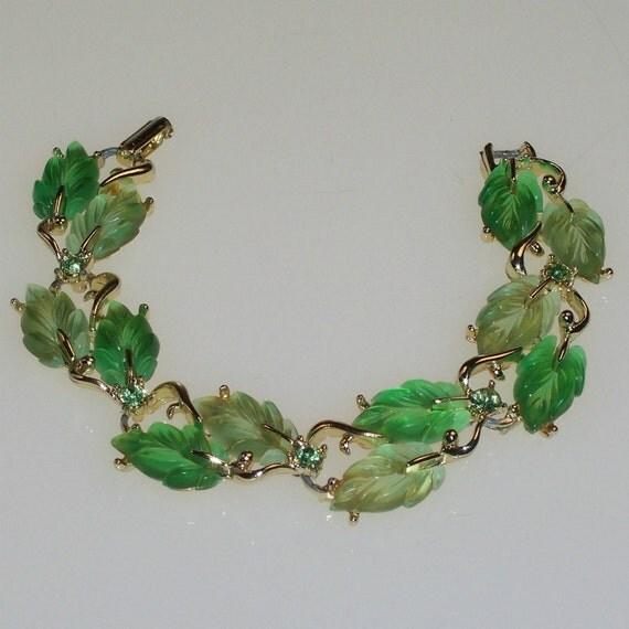 Mid Century Bracelet Vintage 1950s Rockabilly Green Rhinestones and Leaves