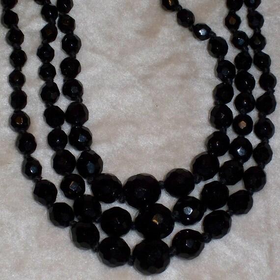 RESERVED FOR ALISON Black Glass Necklace Vintage 1940s Beaded Multi Strand Triple Strand cij Sale