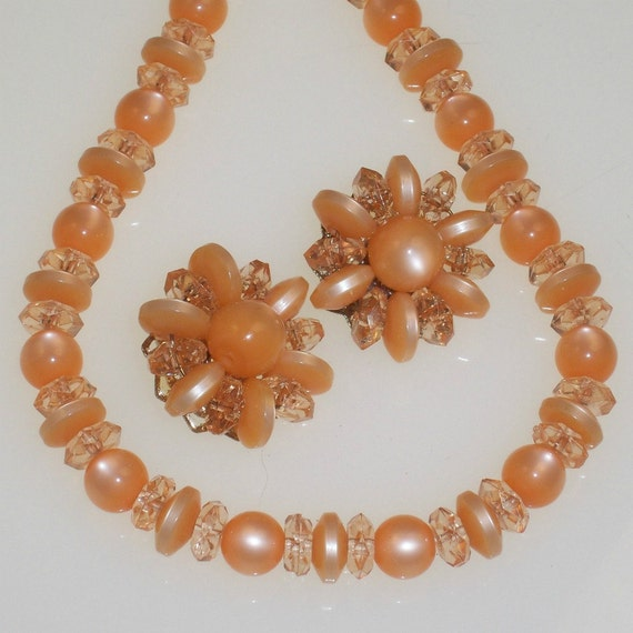 Tangerine Moonglow Necklace Earrings Set Vintage 1960s Mad Men Orange Peach Lucite Crystal Beads