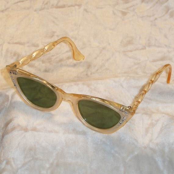Cat Eye Sunglasses Vintage 1950s Rhinestone Lucite Rockabilly Sun Glasses CIJ Sale