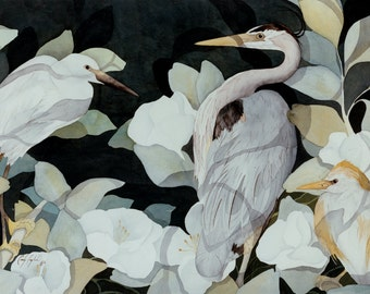 Print or Cards of Two Egrets and a Great Blue Heron