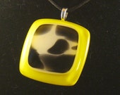 Black White and Yellow Fused Glass Pendant
