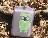Little Owl Fused Glass Pendant