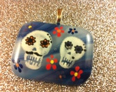 Sugar Skull Couple Fused Glass Pendant