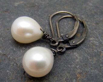 Teardrop Pearl and Oxidized Sterling Earrings - Winter Wedding
