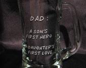 Hand Engraved Beer Mug - Great Gift for DAD