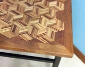 Accent Table - Handcrafted Solid Wood Top / Metal Base - Walnut / Zebra Wood