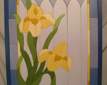 Yellow Iris Handcrafted Woodworking Wall Art