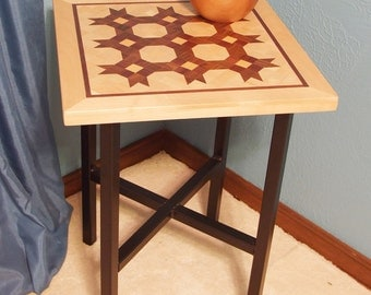 Accent / End Table - Handcrafted Solid Wood Top/Metal Base