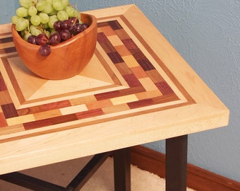 Accent / End Table - Handcrafted Solid Wood Top / Metal Base