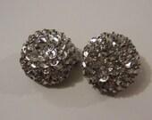 Silver Sequin Clip on Earrings