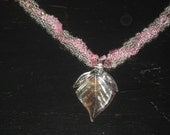 Pink Necklace, Dicroic Glass Leaf Pendant