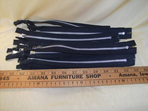 Zippers, 10 inch,   Black,  Open Top,  Metal Teeth,  Lot of 13,  Made by Ideal,  New