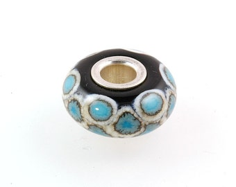 European Big Hole Silver Core Lampwork Glass Bead Turquoise Scales