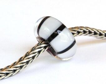 Big Hole European Charm Lampwork Glass Bead Black and White Stripes