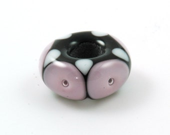 European Charm Bead Big Hole Lampwork Glass Bead Pale Pink Bubble Dots