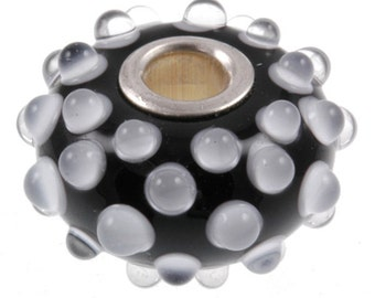 Handmade Lampwork Glass Bead European Charm Big Hole Black & White Dots BHB