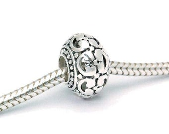 Big Hole Sterling Hollow Filigree Donut Bead