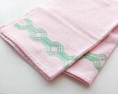 Pair of Vintage Mid-Century Pink Tea Towels