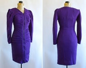 Purple Party Dress, Chic, Geometric Print, Ruched Size 5 / 7