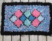 Hand Hooked Rug/ ViNTaGe Hooked Mat /Black Framed Pastel Pink/ Blue Diamonds