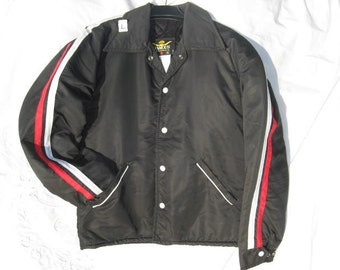 Mens 1970s ViNTaGe Fall/ Winter Jacket Black Racing Jacket NEW by ' FAMOUS Leather Garments Inc.'