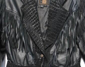 Womens ViNTaGe Leather Jacket / 1970s Spring/ Summer Black Leather Jacket with Fringes