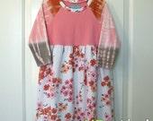 SUPER SALE... 4T Japanese TieDye Long Sleeve OOAK UPcycled Dress