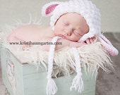 SPRING LAMB Crochet Hat Photo Prop Baby Newborn 0 3 6 12 Months 1T 2T 3T 4T Child Teen Adult  - Removable Flower - EASTER