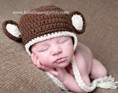MONKEY Earflap Braids Photo Hat Baby Newborn 0 3 6 12 Months 1T 2T 3T 4T Child Teen Adult