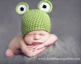FROG Crochet Hat Baby Newborn 0 3 6 12 Months 1T 2T 3T 4T Childs Teen Adult
