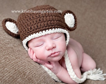 MONKEY Earflap Braids Photo Hat Baby Newborn 0 3 6 12 Months 1T 2T 3T 4T Child Teen Adult