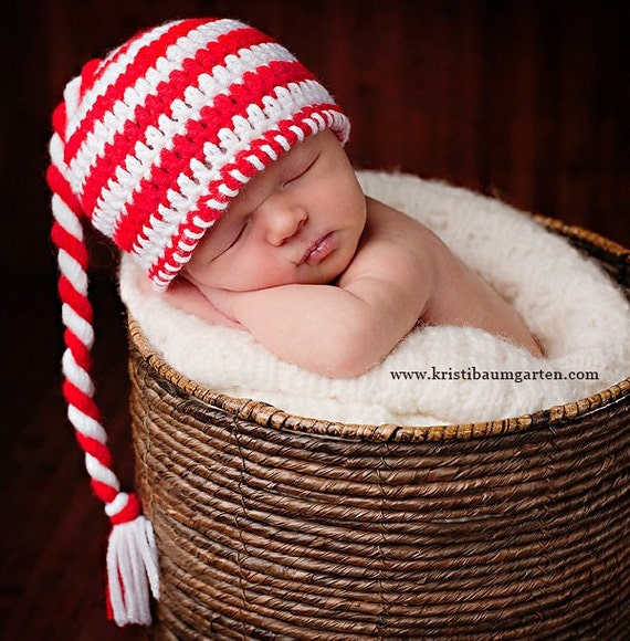 CHRISTMAS ELF Candy Cane Crochet Hat Baby Newborn 0 3 6 12 Months 1T 2T 3T 4T Child Teen Adult