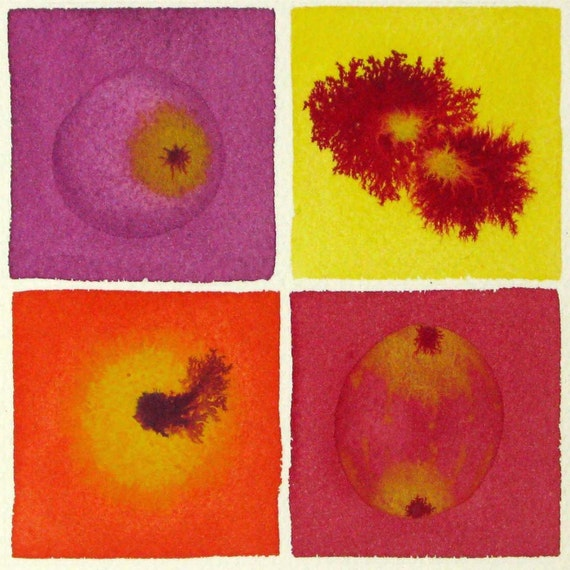 Cell Division Red 2 - Original Watercolor Painting