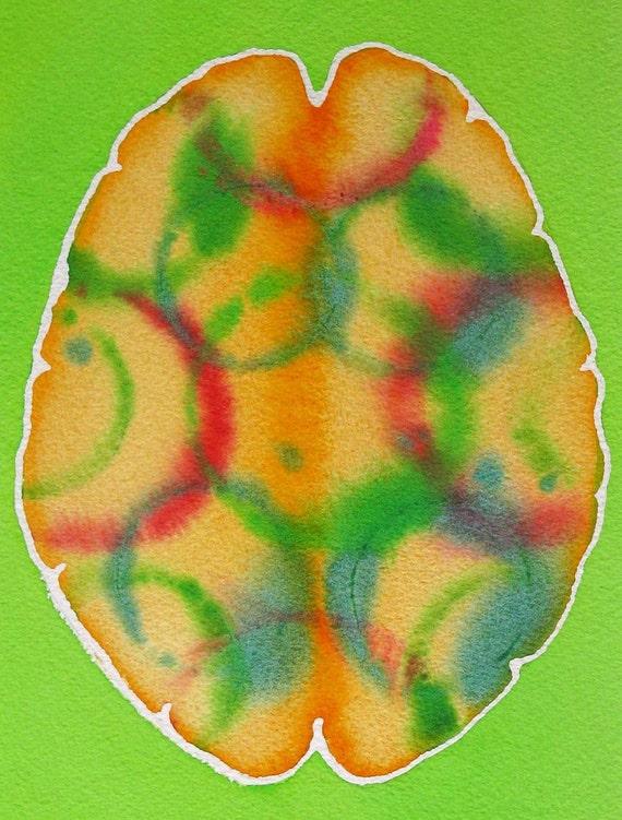 Tropical Punch Brain - original watercolor painting