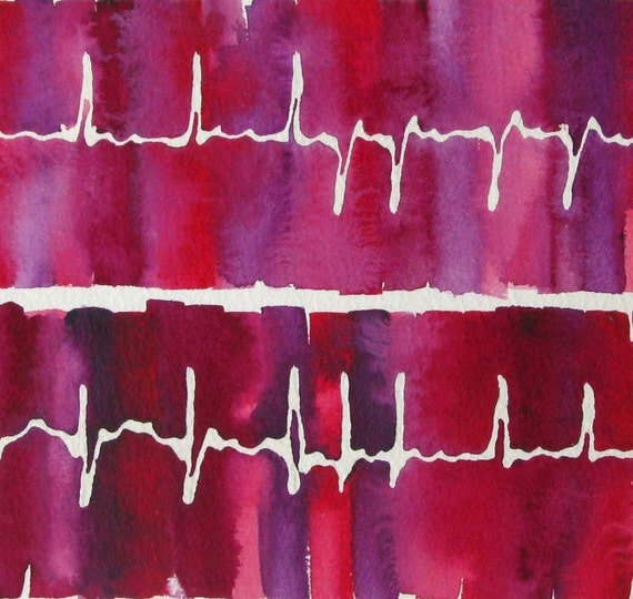 Barbie's in A-Fib  - original watercolor ekg painting - atrial fibrillation