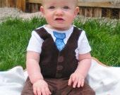 Little Man Tie and Vest Onesie - Boutique Baby Boy Clothes
