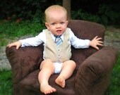 Long Sleeve Tie and Vest Onesie - Pinstripe - Boutique Baby Boy Clothes