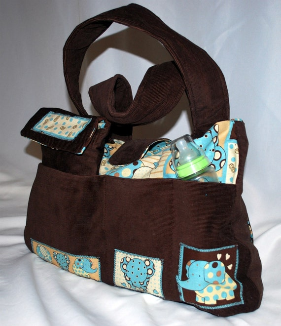 Diaper Bag in Chocolate Brown and Baby Blue Elephant