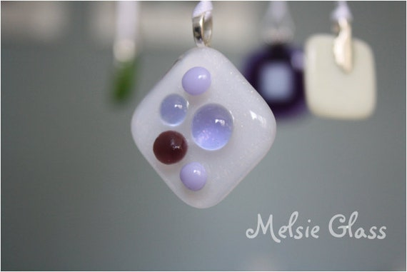 Purple Princess Pendant, white glass pendant with purple dots