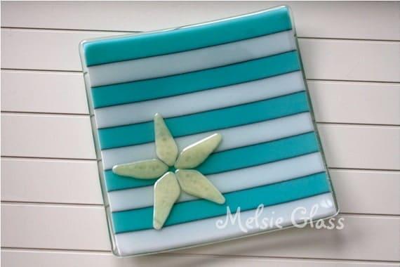 Beachy Starfish glass plate, Sea Life Series