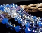 Last One/Blue Mix Faceted Rondelle Glass Crystal Beads Qty 40