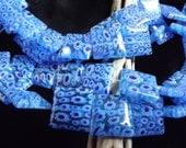 16mm Aqua Blue Millefiori Puffed Squares Qty 8