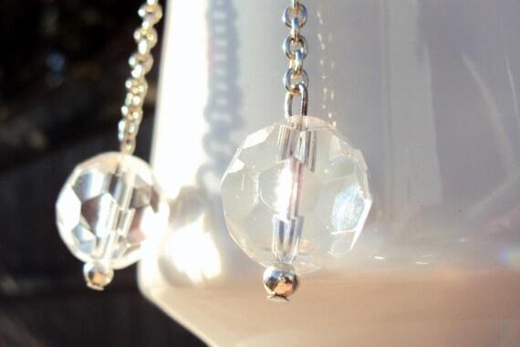 SALE  long silver chain glass bead earrings