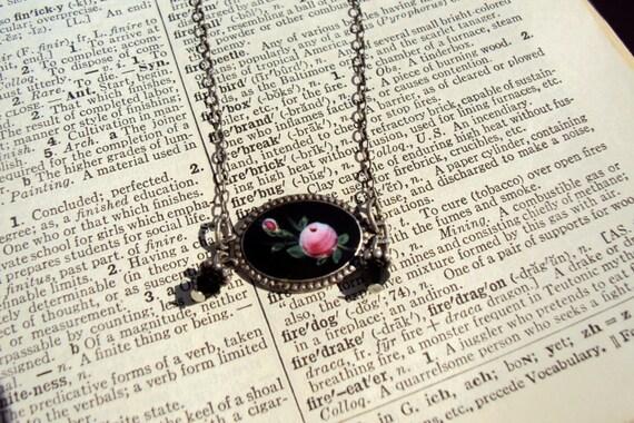 vintage black enameled rose pendant repurposed