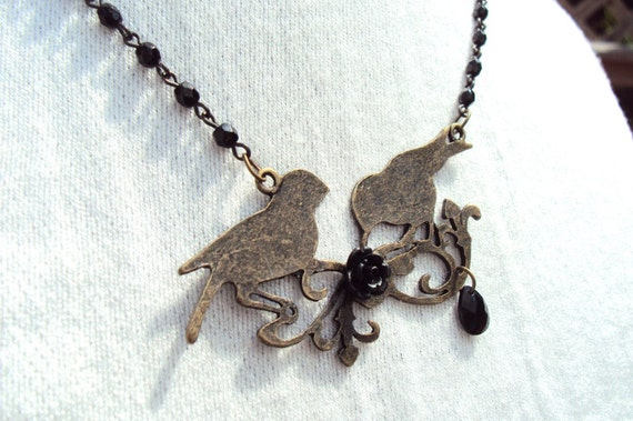 black bird crows necklace vintage goth style
