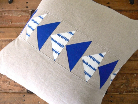 Flying Geese Pillow Cover - Blue and Linen